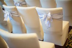Chair set for wedding or another catered event dinner. wedding chair decoration. stock image