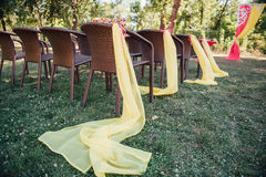 Chair set for wedding or another catered event  visiting ceremony Stock Images