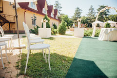 Chair set for wedding or another catered event  visiting ceremony Royalty Free Stock Photos