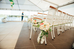Chair set for wedding, another catered event or visiting ceremony Stock Photos