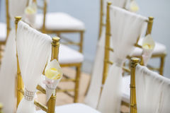 Chair setting for a wedding ceremony Royalty Free Stock Images