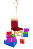 Chair of sinterklaas with presents. Chair of sinterklaas.clipping path included  .typical Dutch character part of a traditional event celebrating the birthday of Royalty Free Stock Photography