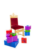 Chair of sinterklaas with presents. Chair of sinterklaas.clipping path included  .typical Dutch character part of a traditional event celebrating the birthday of Royalty Free Stock Photo