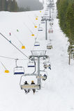 Chair ski lift on mountain Royalty Free Stock Photos