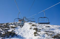 Chair ski lift over mountain landscape Stock Image