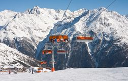 Chair ski lift. Solden. Austria. On the slopes of the ski resort of Solden. Austria Royalty Free Stock Photos