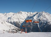 Chair ski lift. Solden. Austria Stock Photo
