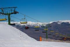 Chair ski lifts in La Molina, Spain Stock Photo