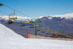 Chair ski lifts in La Molina, Spain Royalty Free Stock Photography