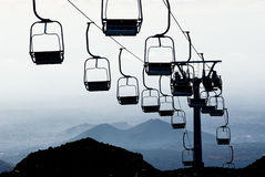 Chair skilift for skiers Royalty Free Stock Images