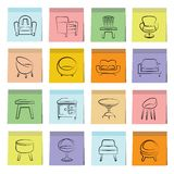 Chair and sofa icons sticky note paper Royalty Free Stock Photo