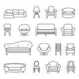 Chair and sofa line vector set Stock Image