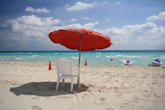 Chair on south Beach. Concept photo of South Beach with chair Royalty Free Stock Image