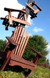 Chair Stack. Abstract outdoor wooden chair presentation Stock Photo