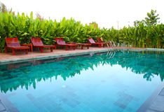 Chair and swimming pool with tropical plants Stock Photo