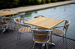 Chair and table. By pool Royalty Free Stock Photography