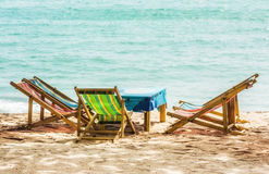 Chair and table at beach Royalty Free Stock Images