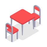 Chair and table isometric design. Cafe furniture royalty free illustration