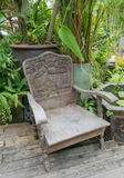 Chair and table. Old vintage wooden or iron  chair and table Royalty Free Stock Photo