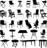 Chair and table silhouette vector. Chair and table for relax silhouette vector
