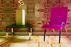 Chair with table and vase Royalty Free Stock Photos