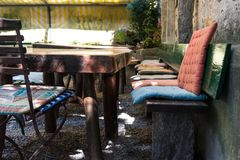 Chair and tables of outdoor restaurant cafe bar cozy place with sun light. Chair and tables of outdoor restaurant cafe bar cozy place for relaxation with Royalty Free Stock Photography