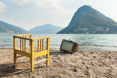 Chair and television Royalty Free Stock Images