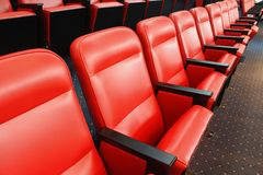 Chair of theater. Row red chair of theater Royalty Free Stock Photo