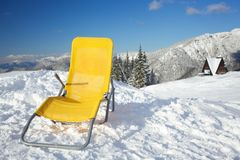 Chair on top of mountain Royalty Free Stock Photography