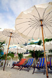 Chair and Umbrella. In front of resort, prepare for traveller. Samed  island. Thailand Royalty Free Stock Photo
