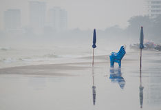 Chair and umbrella  on beach, Huahin, Thailand Royalty Free Stock Photo