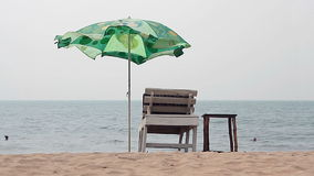 Chair with Umbrella near the Beach stock footage