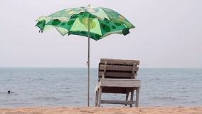 Chair with Umbrella near the Beach stock video