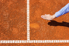 Chair Umpire look at ball mark. Stock Photography