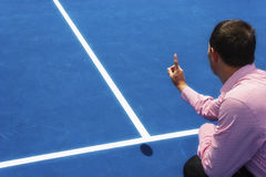Chair umpire look at mark on court and says ball was OUT Royalty Free Stock Photography
