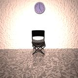 Chair under a clock, waiting room Royalty Free Stock Image