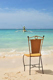 Chair on White Sand Beach Stock Image