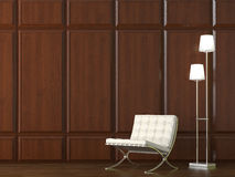 Chair on wood cladding wall stock image
