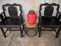 Chair wood LHONG Bangkok Thailand royalty free stock images