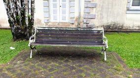 Chair on wooden deck wood outdoor patio backyard garden Stock Photos