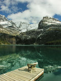 Chair on a wooden pier, Lake O'Hara, Yoho National Park, Canada Stock Images
