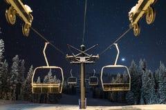 Chairlift στα αστέρια Στοκ Εικόνα