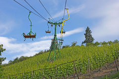 Chairlift above vineyard Royalty Free Stock Photo