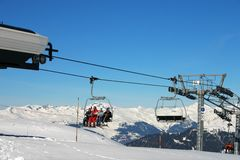 Chairlift in the alps. Chairlift - méribel - french alps Royalty Free Stock Images