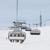 Chairlift Approaching the Summit Station Royalty Free Stock Images