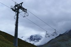 Chairlift bez siedzeń w Tyrolian Alps, Austria Fotografia Stock