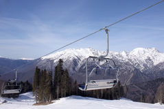 Chairlift in Caucasian mountains Stock Photos