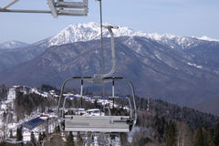 Chairlift in Caucasian mountains Stock Photo