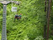 Chairlift couple photographer Stock Image