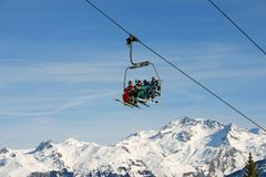 Chairlift in Courchevel. French alps Stock Images